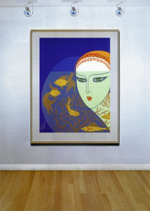 """Fish Bowl"" BIG Art Deco Print by Erte"