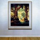 """Cascades"" BIG Maxfield Parrish Art Deco Print"