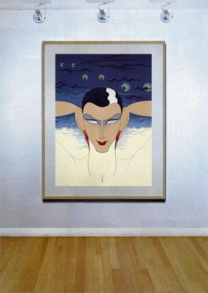 """""""Mystere"""" HUGE Art Deco Print Erte"""