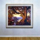 """""""Riverbank Autumn"""" HUGE Maxfield Parrish Art Deco Print"""