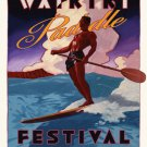 Hawaii SUP Surfing Stand Up Paddling Art Poster Duke Kahanamoku Surf surfboard