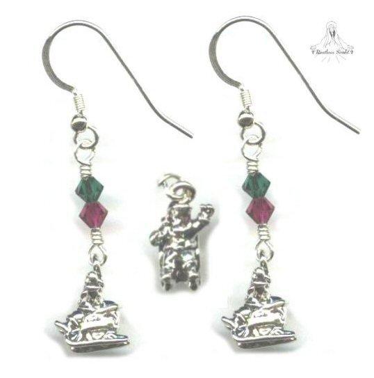 Santa in Sleigh Earrings - Sterling Silver, Swarovski Crystal