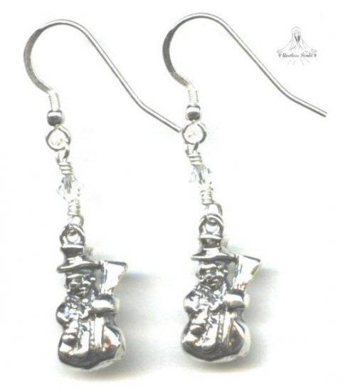 Large Snowman Earrings - Sterling Silver, Swarovski Crystal