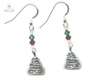 Christmas Tree Earrings - Sterling Silver Swarovski Crystal