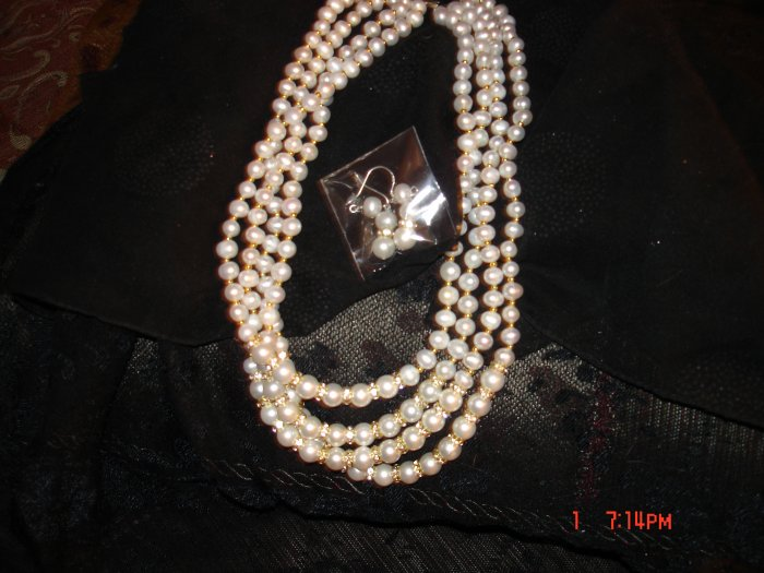 4 Row Freshwater Pearl Necklace and Drop Earrings