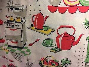 "Retro Vintage Kitchen HaNdMaDe Window Curtain Valance Cotton fabric 43""W x 15""L"