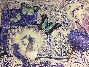 "Elegant Purple Butterfly Valance HaNdMaDe Window Topper Cotton fabric 43""W x15""L"