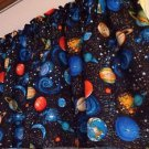 "43"" wide 15"" long Window Curtain Valance Black Outer Space Planets fabric"