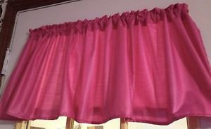 "Solid Hot Pink fabric Window Curtain Valance 52""wide 15"" long"