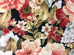 "Peach and Wine Flowers Valance HaNdMaDe Window Topper Cotton fabric 43""W x 15""L"