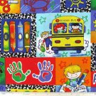 "Red Blue Crayon Yellow School Bus 42""W 15""L Window Curtain Valance Cotton fabric"