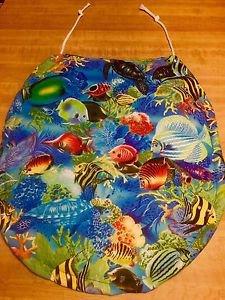Tropical Blue Ocean Fish Fabric Toilet Season Lid Cover Handmade In The USA