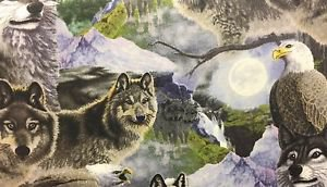 "Wolf Wolves Eagle Wild HaNdMaDe Window Valance Topper Cotton fabric 43""W x 15""L"