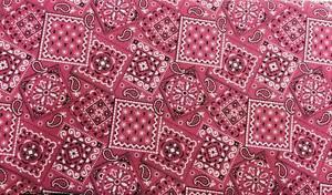 "Pink Bandana Cotton fabric Handmade into Window Curtain Valance 42""wide 15""long"