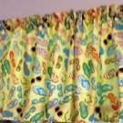 "52""wide 15"" long Window Curtain Valance Yellow Sunglasses Beach Flip Flop fabric"