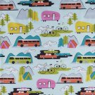 "Campsite Camper Tent 42"" wide 15"" long Window Curtain Valance Cotton fabric"