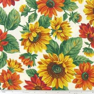 "Harvest Gold Autumn Sunflower 43"" W 15""L Window Curtain Valance Cotton Fabric"