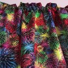 "Red Blue Yellow Fireworks 42"" wide 15"" long Window Curtain Valance Cotton fabric"