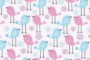 "Pink Blue Baby Birds  HaNdMaDe Window Curtain Valance Cotton fabric 43""Wx15""L"