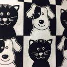 "Black White Dogs Cats Valance HaNdMaDe Window Topper Cotton fabric 43""W x 15""L"