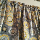 "Grey Yellow Suzani Flower Valance HaNdMaDe Window Topper Cotton fabric 43""Wx15""L"
