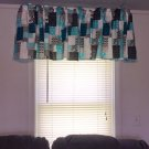 "Teal Black Grey Patchwork 42""W 15""L Window Curtain Valance Cotton  fabric"