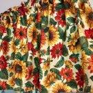 "Fall Harvest Gold Autumn Sunflower 43""W 15""L Window Curtain Valance Cotton"