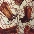 "Valance Brown Cowboy Boots  43"" W 15""L Window Curtain Topper Cotton Fabric"