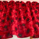 "Red Poppies Poppy FlowerValance HaNdMaDe Window Topper Cotton fabric 43""W x 15""L"