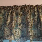 """2 Valances (Together Fit 1 Window 30-45""""w)Brown Teal Gold Paisley Curtain Topper"""