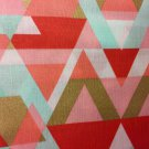 "Coral Mint Geometric Valance HaNdMaDe Window Topper Cotton fabric 43""W x 15""L"