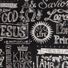 "Jesus Names Chalkboard  42""W 15""L Window Curtain Valance Cotton fabric"