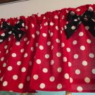 "Red Polka Dot Black Bows Curtain Valance Window Topper Cotton fabric 43""W x 15""L"