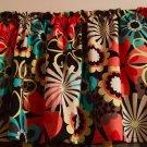 "Retro Mod Orange Flower Power  42"" W 15"" L Window Curtain Valance Cotton Topper"