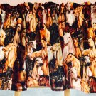"Horses Pinto Mare Colt HaNdMaDe Window Curtain Valance Cotton fabric 43""W x 15""L"