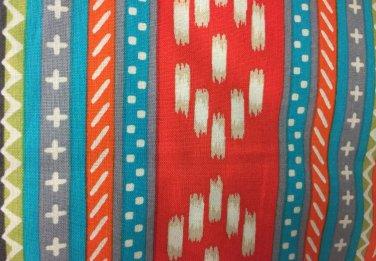 "Valance Topper Grey Coral Aztec HaNdMaDe Window  Cotton fabric 43""W x 15""L"