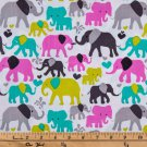 "Orchid Grey Teal Elephants 42""W 15""L Window Curtain Valance Cotton  fabric"