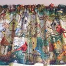 "Colorful Birdhouse Birds Curtain Valance Window Topper Cotton fabric 43""W x 15""L"