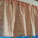 """Pink Roses Floral Cotton Shabby Chic  Window Curtain Valance 42""""wide 15""""long"""