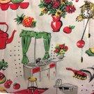"Cream Vintage Kitchen Curtain Valance Window Topper Cotton Retro 43""W x 15""L"