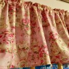 """Pink Vintage Look Teacup 42""""W 15""""L  Curtain Valance Cotton fabric"""