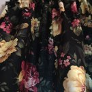 "Beautiful Flowers on Black  42""W 15""L Window Curtain Valance Cotton  fabric"
