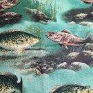 "River Fishing Crappie Fish Window Curtain Valance Cotton fabric 43""W 15""L"