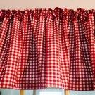 "Kitchen Red White Print Fabric on  Valance Cotton 43""W x 15""L"