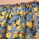 "Blue Minions 43"" W X 15"" L Window Curtain Valance Topper Cotton Fabric"