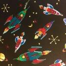"Rocket Ships Valance HaNdMaDe Window Topper Cotton fabric 43""W x 15""L"