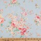 "Dusty Powder Blue Shabby Roses 42""W 15""L Window Curtain Valance Cotton  fabric"