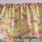 "Yellow Pink Roses Dainty Bedroom Valance  Window Curtain Cotton 43""W x 15""L"
