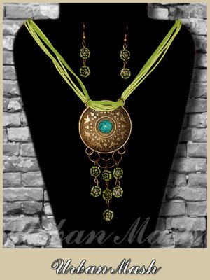 Antiqued Bronze Tone Medallion and Earrings SET - A0002