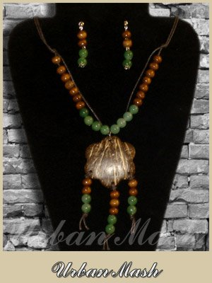 Wood Earthtone Beads Medallion & Earrings SET - A0005